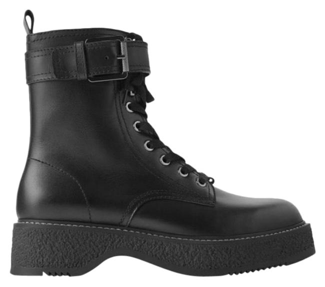 Item - Black Low Heeled Leather Combat Biker Ankle 7.5 Boots/Booties Size EU 38 (Approx. US 8) Regular (M, B)