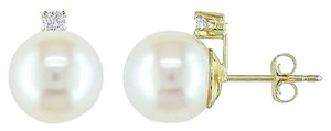 14k Yellow Gold 7-7.5 Mm White Akoya Pearl Diamond Stud Earrings I-j I2-i3