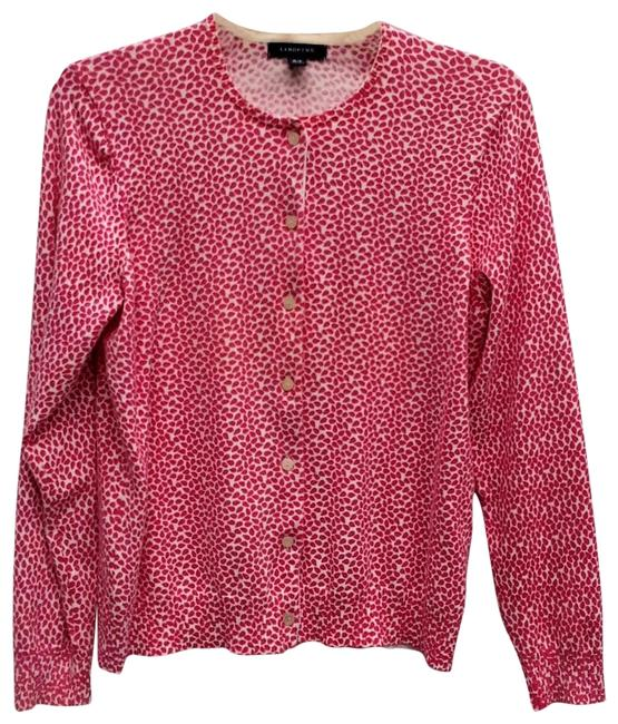 Item - Pink and White Print Sweater Button Front Cardigan Size Petite 10 (M)