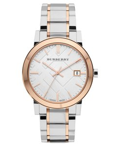 Burberry Burberry Silver Gold Unisex White Dial Rose Plated Swiss Bezel Bu9006
