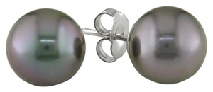 Other 14k White Gold 9-9.5mm Tahitian Cultured Pearl Earrings