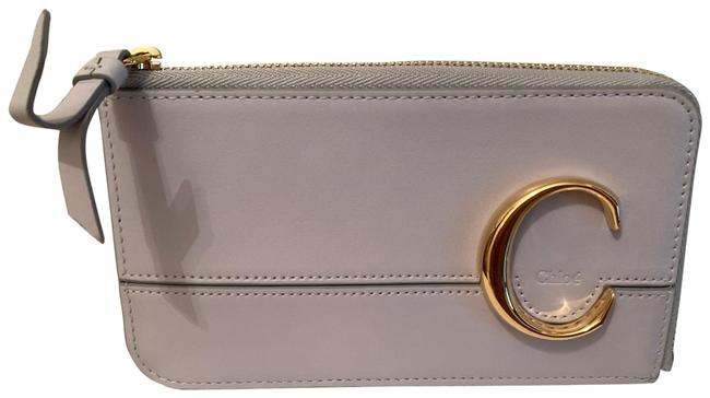 Item - White C Leather Zip Card Holder Wallet