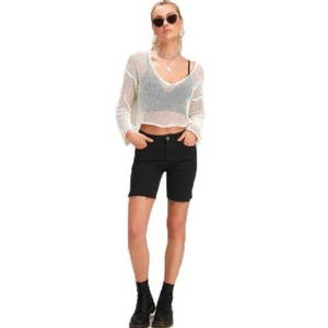 Free People Avery Button Fly Cutoff Bermuda Denim Shorts-Dark Rinse