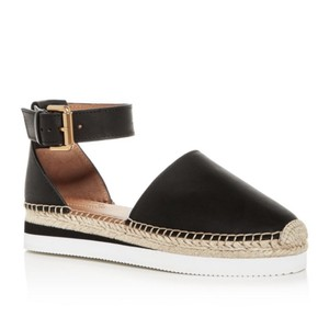 See by Chloé Espadrille Leather Espadrille Summer Espadrille Black, beige and white Flats