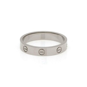 Cartier Mini Love 18k White Gold 4mm Wide Band Ring Size EU 58-US 8.5 Cert