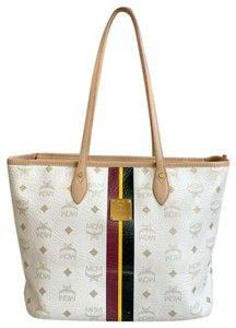 MCM Web Monogram Canvas & Leather Tote in White, Beige