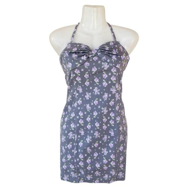 Item - Floral Bow Halter Zipper Small Short Casual Dress Size 4 (S)