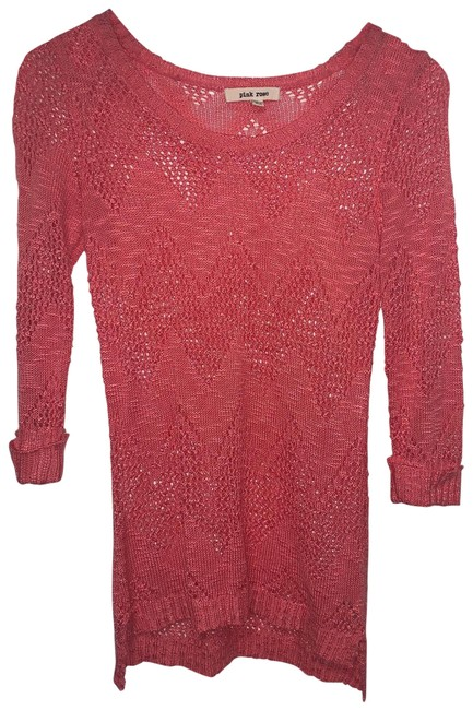 Item - Coral Half Sleeve Net Sweater Tunic Size 4 (S)