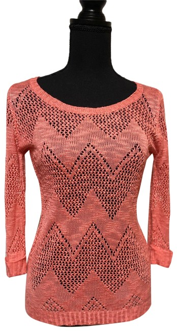 Pink Rose Coral Half Sleeve Net Sweater Tunic Size 4 (S) Pink Rose Coral Half Sleeve Net Sweater Tunic Size 4 (S) Image 1