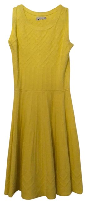 Item - Yellow Flared Knitted Mini Short Work/Office Dress Size 2 (XS)