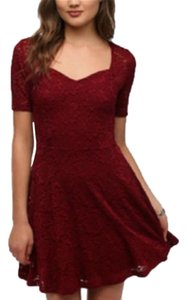 Pins and Needles short dress Red Lace Sweetheart Fit Flare Lined on Tradesy