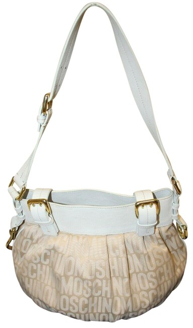 Item - Shoulder Bag Bucket Logo Print Ruched Canvas/Leather Style Pink Canvas/White Leather Patent Satchel