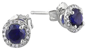 Sterling Silver Diamond And 1 16 Ct Tgw Blue Sapphire Ear Pin Earrings Gh I3