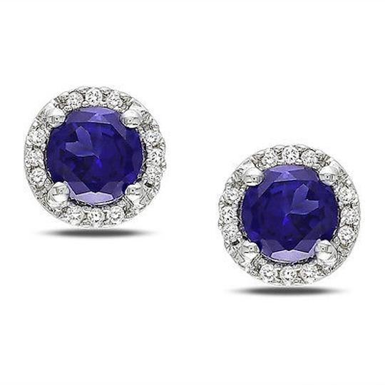 Other Sterling Silver Diamond And 1 16 Ct Tgw Blue Sapphire Ear Pin Earrings Gh I3