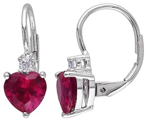 3 38 Ct Tgw Ruby White Sapphire Heart Love Leverback Earrings Silver