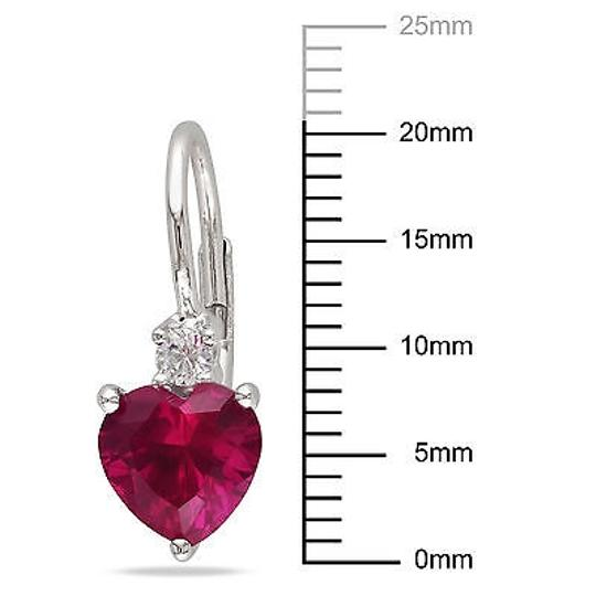 Other 3 38 Ct Tgw Ruby White Sapphire Heart Love Leverback Earrings Silver