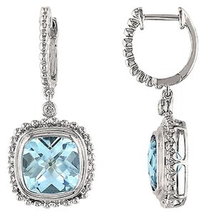Other Sterling Silver Diamond And 8 12 Ct Sky Blue Topaz Cuff Earrings Gh I3
