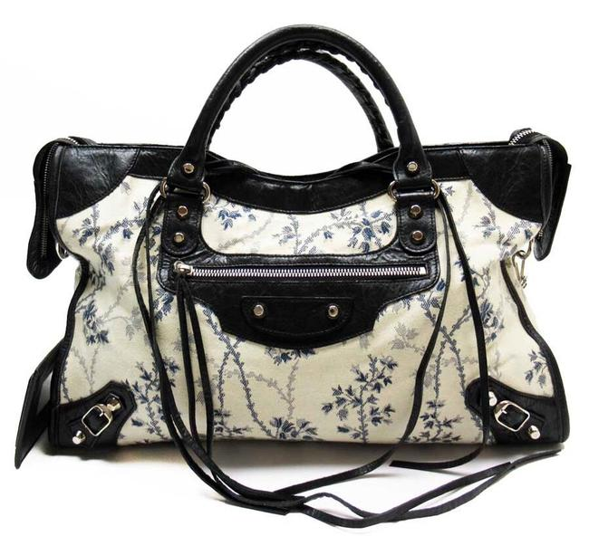 Item - Limited Edition City Motorcross Ghesquiere Blue Floral Canvas Leather Satchel