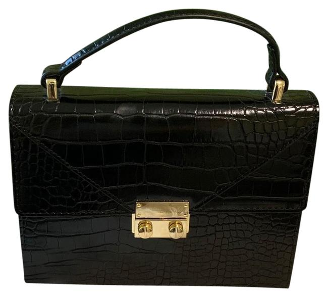 Item - Textured Top Handle Black and Gold Cross Body Bag