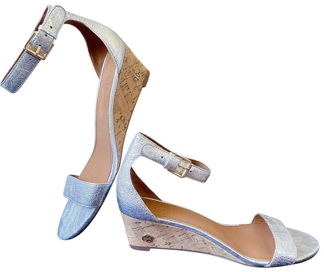 Item - Silver Wedge Ankle Strap Metallic Leather Sandals Size US 7 Regular (M, B)