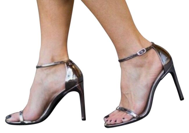 Item - Silver Gray Petwer Nudistsong 100mm Ankle Strap Heel Glass Sandals Size US 10 Regular (M, B)