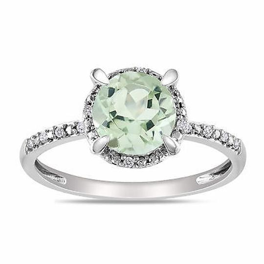 Other 10k White Gold Diamond And 1 13 Ct Tgw Green Amethyst Fashion Ring Gh I2i3