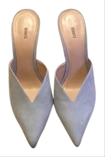 """Item - Pale Blue Fabulous Suede Pointy Toe 4"""" Heels Sexy Mules/Slides Size EU 38 (Approx. US 8) Regular (M, B)"""