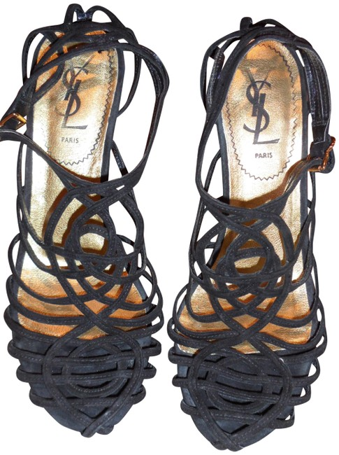 Item - Black/Gold Paris Fabulous Suede Spaghetti Straps With Wedges Size EU 37.5 (Approx. US 7.5) Regular (M, B)