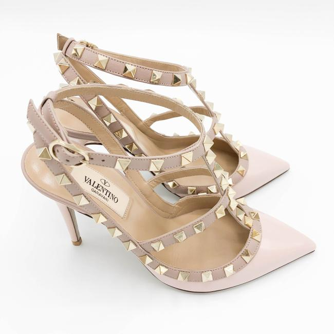 Item - Rose Pink Rockstud 100mm Patent Leather Ankle Strap Pointed Toe Pumps Size US 7 Regular (M, B)