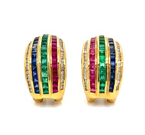 LeVian Diamond Multicolor Gems 18k Yellow Gold Curved Huggie Earrings