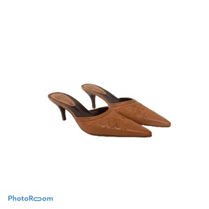PAZZO Kitten Heel Leather Anthropologie Brown Mules