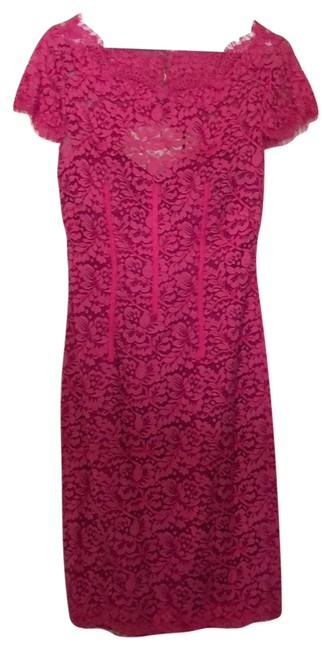 Item - Pink Ml Diamond Back Lace Mid-length Formal Dress Size 4 (S)