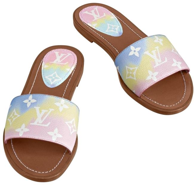 Item - Pink Yellow Blue Escale Pastel Mule Sandals Size US 10 Regular (M, B)