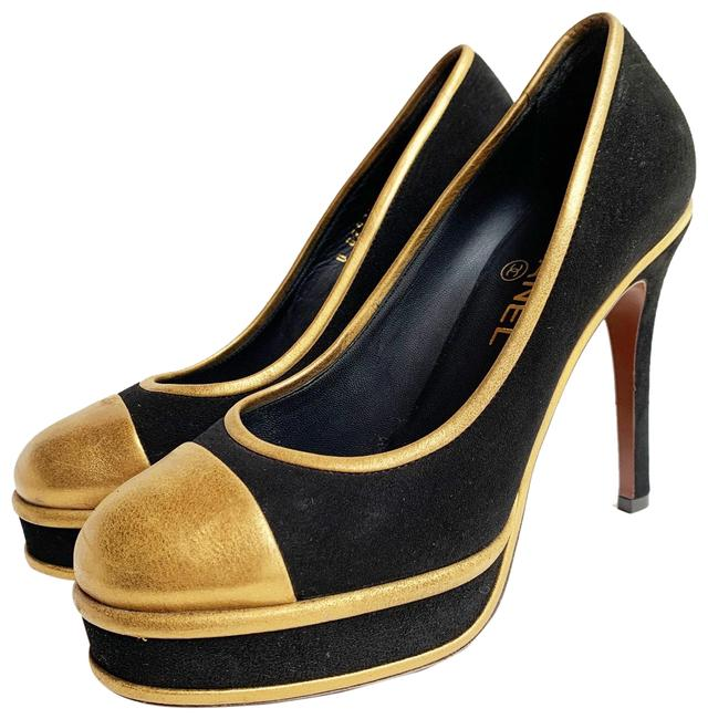 Item - Black & Gold Cap Toe Suede Heels Pumps Size EU 38 (Approx. US 8) Regular (M, B)