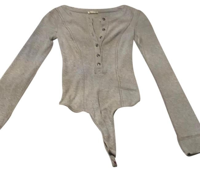 Free People Ribbed Button Down Bodysuit Grey Heather Top Free People Ribbed Button Down Bodysuit Grey Heather Top Image 1