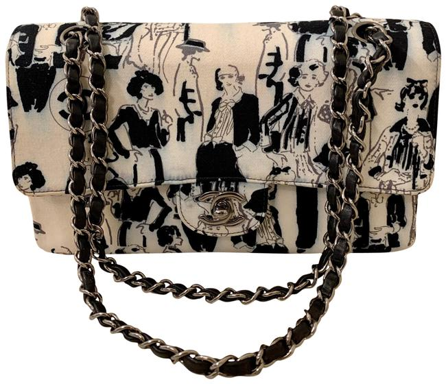 Item - Double Flap Rare Limited Edition Coco Medium Black and White Canvas Cross Body Bag