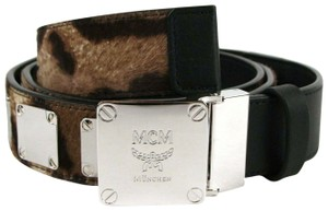 MCM Black Leather/Pony Hair Belt with Silver Square Buckle MXB8MM30EG001