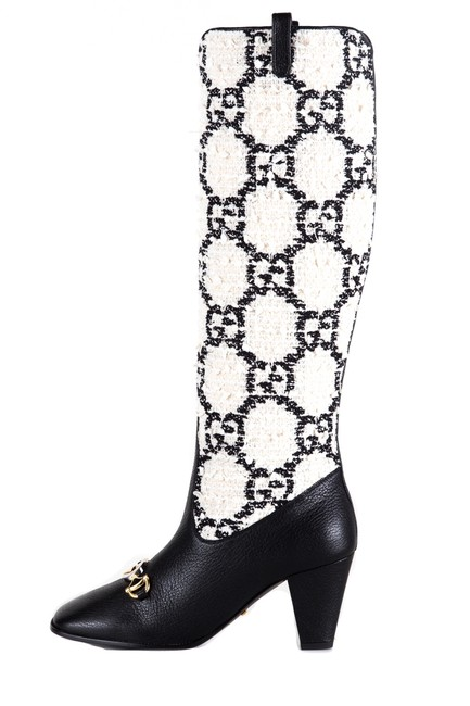Item - Black & White Gg Tweed Knee-high Boots/Booties Size EU 36 (Approx. US 6) Regular (M, B)