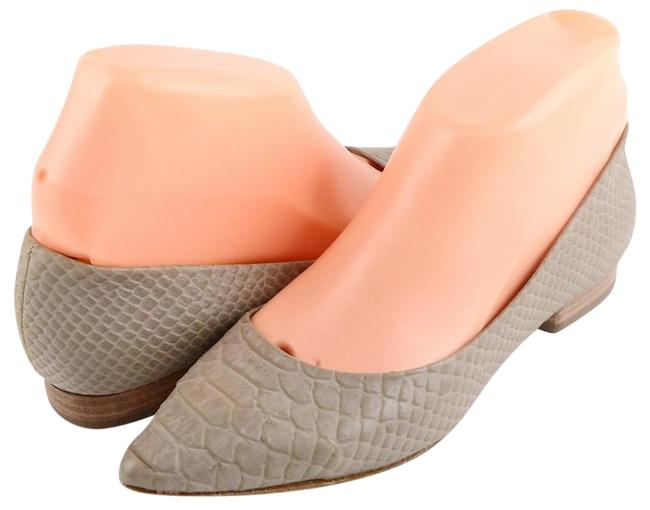 Item - Taupe Material Snake Leather Pointed Toe Ballet Flats Size US 5 Regular (M, B)