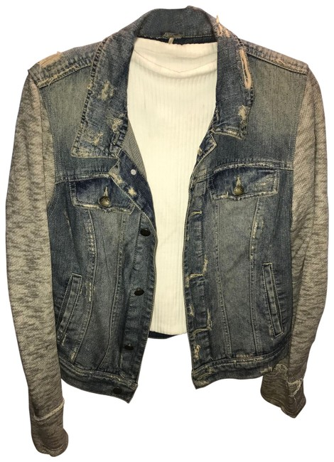 Item - Blue and Grey With Cotton Sleeves Jacket Size OS (one size)