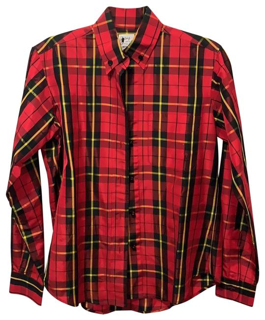 Item - Red Black and Yellow Cheap Chic Plaid Button-down Top Size 8 (M)