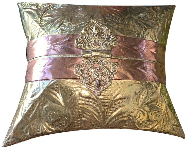Item - Metal Pillow Purse Minaudiere with Royal Blue Brass and Copper Cross Body Bag