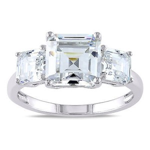 Amour Silver Ct Tgw O Ctagonal Square Cut Cubic Zirconia Stone Bridal Ring