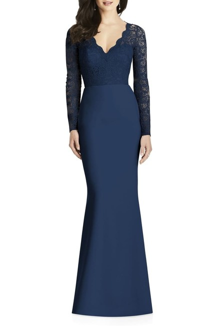 Item - Midnight Blue 3014 Lace and Crepe Sleeve Gown Long Formal Dress Size 12 (L)