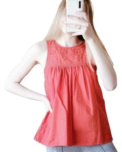 Madewell Blouse Embroidered Button Back Top Red