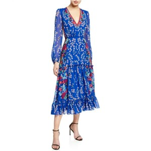 Blue Maxi Dress by SALONI Designer Silk Floral Tiered Bohemian