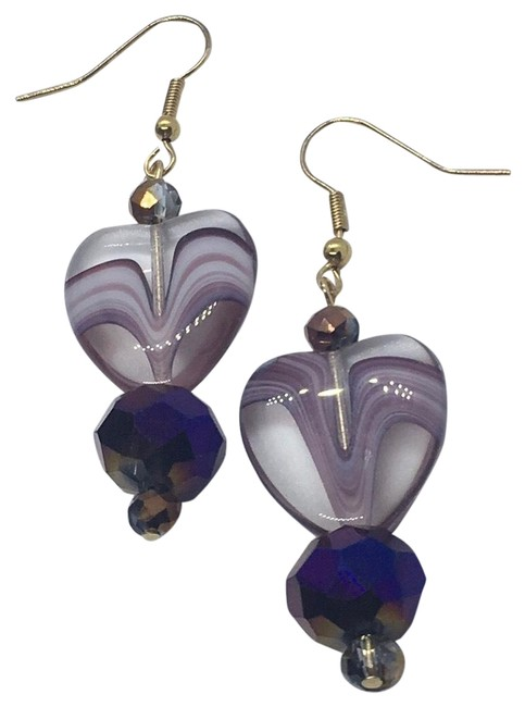 Item - Purple and Gold Dazzling Heart Crystal Danglings Earrings