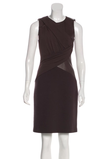 Item - Brown Sleeveless Draped Leather Contrast Mid-length Cocktail Dress Size 6 (S)