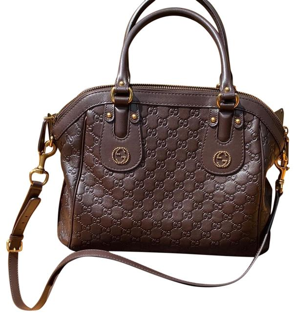 Gucci New Satchel Rare Brown Leather Baguette Gucci New Satchel Rare Brown Leather Baguette Image 1