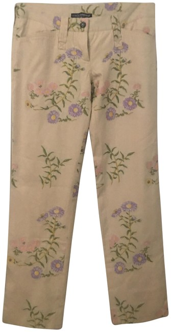 Item - Beige/Multi Medium Wash Flowers Embroidered Trousers Pant Straight Leg Jeans Size 28 (4, S)